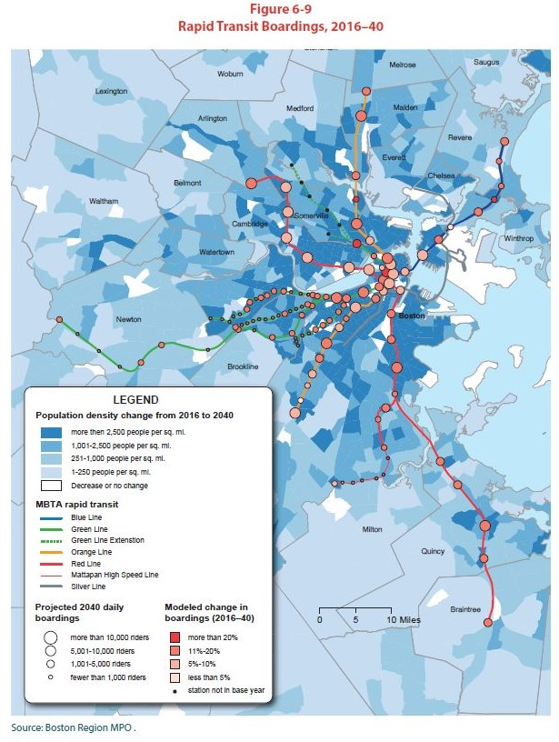 Rapid Transit Boardings, 2016-2040