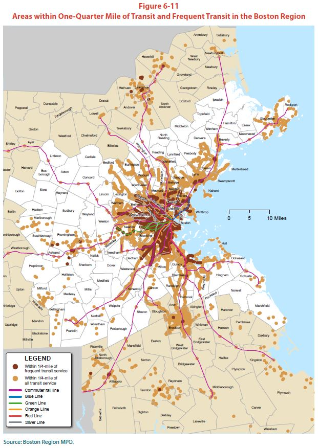 Areas within One-Quarter Mile of Transit and Frequent Transit in the Boston Region